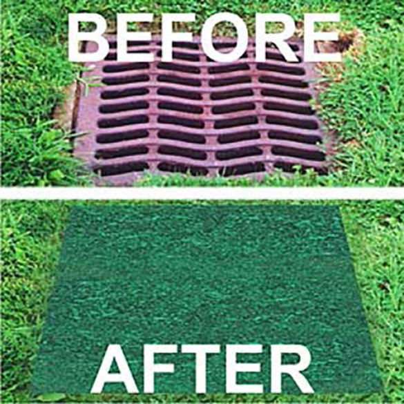 """37"""" Square Recycled Rubber Permeable Outdoor Storm Drain Cover - Sports Fields  Non-Skid  100% Recycled Material Made in USA - 37-SG"""
