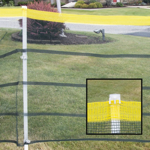 Roll-A-Fence Knitted Polyethylene Fence - Rolled Barrier & Outfield Fencing - Blue - BF05-Blue (Green With Yellow Top Installation Example Shown)