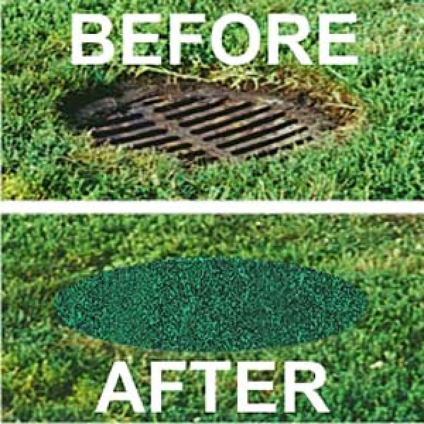 """37"""" Round Recycled Rubber Permeable Outdoor Storm Drain Cover - Sports Fields Non-Skid 100% Recycled Material Made in USA - 37-RG"""