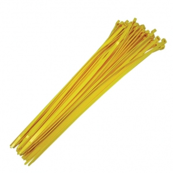 "19"" Yellow Reusable Ties (100 count)"
