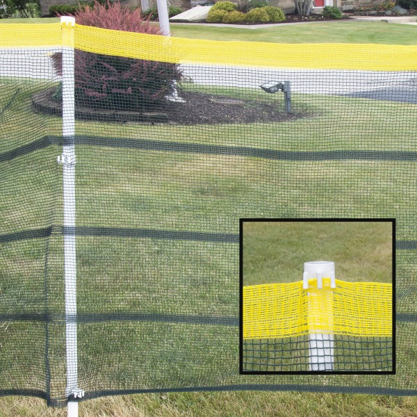 Roll-A-Fence Knitted Polyethylene Fence - Rolled Barrier & Outfield Fencing - Orange BF05-66O (Green With Yellow Top Installation Example Shown)