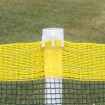 Roll-A-Fence Knitted Polyethylene Fence - Rolled Barrier & Outfield Fencing - Orange BF05-O (Green With Yellow Top Installation Example Shown)